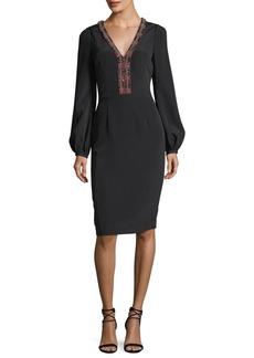 David Meister Long-Sleeve Braid-Trimmed V-Neck Crepe Cocktail Dress