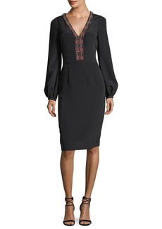 David Meister Long-Sleeve Braid-Trimmed V-Neck Crepe Cocktail Dress
