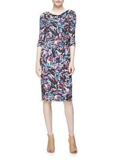 David Meister Long-Sleeve Confetti Jersey Sheath Dress