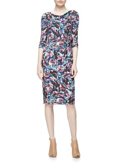 David Meister Long-Sleeve Confetti Jersey Sheath Dress