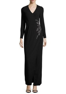 David Meister Long-Sleeve Embellished Faux-Wrap Gown