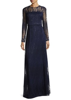 David Meister Long-Sleeve Embellished Illusion Lace Gown