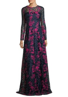 David Meister Long-Sleeve Embroidered Floral Lace Gown