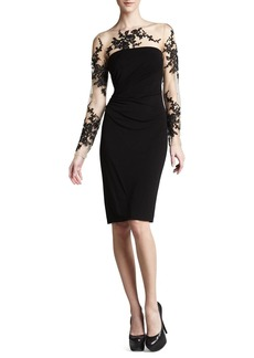 David Meister Long-Sleeve Embroidered Jersey Dress
