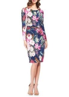 David Meister Long-Sleeve Floral Jersey Sheath Cocktail Dress