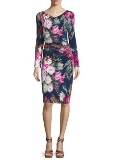 David Meister Long-Sleeve Floral Jersey Sheath Dress