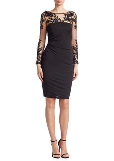 David Meister Long-Sleeve Illusion Cocktail Dress