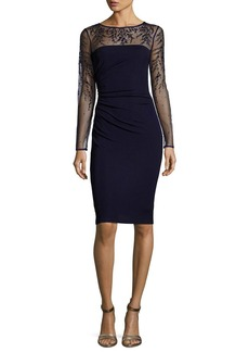 David Meister Long-Sleeve Jersey Illusion Cocktail Dress  Dark Navy