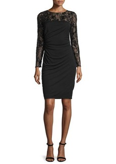 David Meister Long-Sleeve Lace Bodice Ruched Cocktail Dress