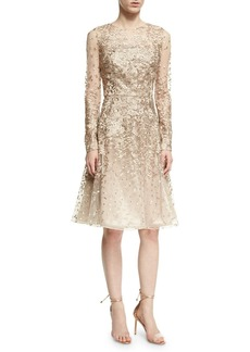 David Meister Long-Sleeve Lace Cocktail Dress