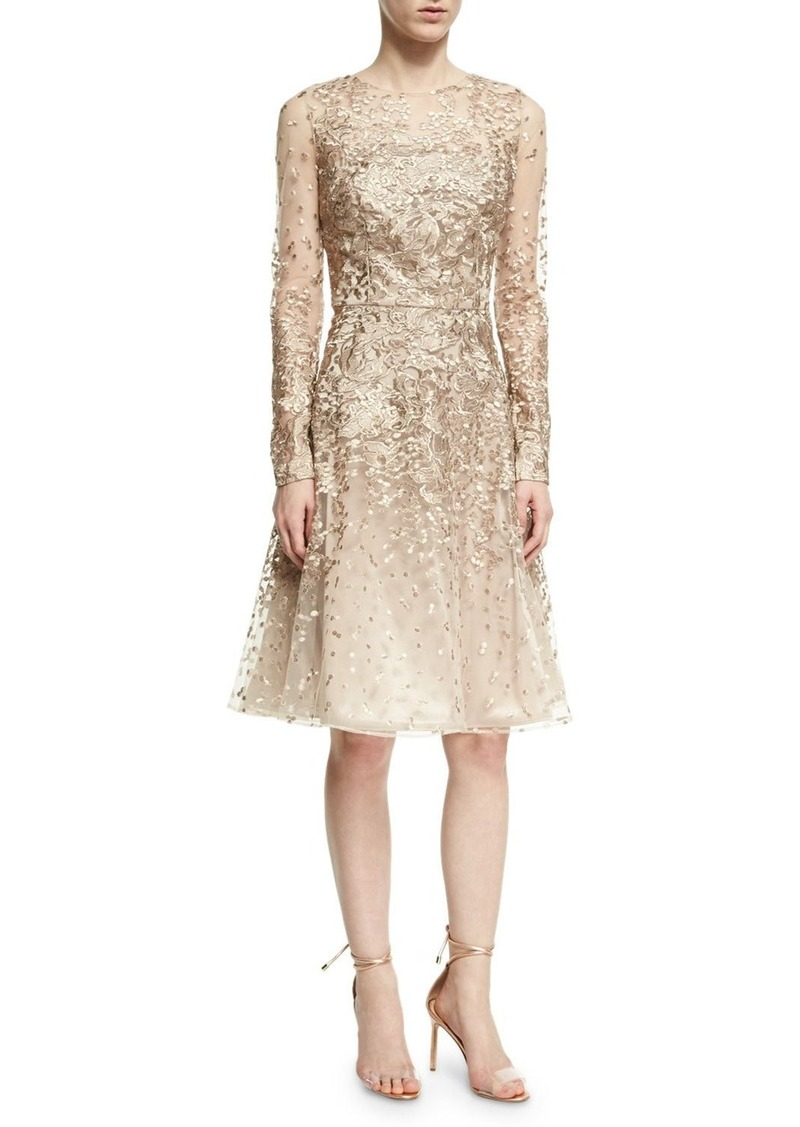 David Meister David Meister Long-Sleeve Lace Cocktail Dress ...