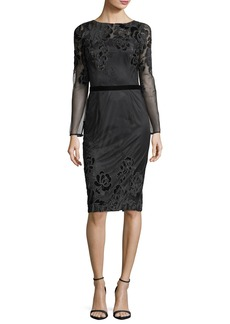 David Meister Long-Sleeve Lace Velvet Devoré Sheath Cocktail Dress
