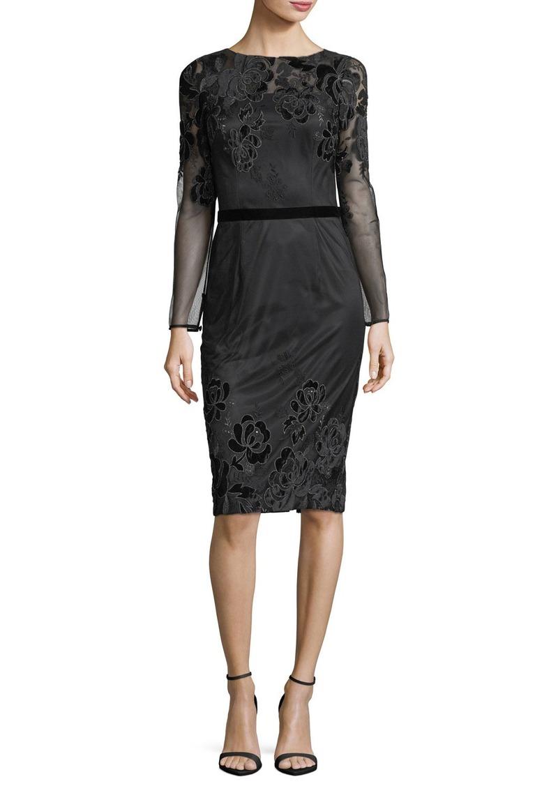 David Meister Long-Sleeve Lace Velvet Devoré Sheath Cocktail Dress