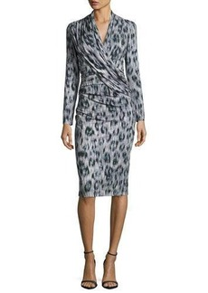 David Meister Long-Sleeve Ruched Leopard-Print Jersey Dress