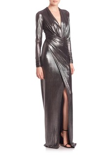 David Meister Long-Sleeve Ruched Metallic Jersey Gown