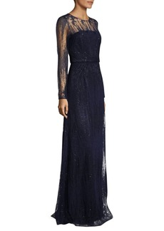 David Meister Long Sleeve Sequin Gown