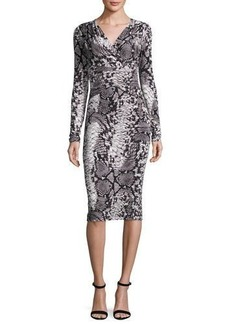 David Meister Long-Sleeve Snake-Print Jersey Dress