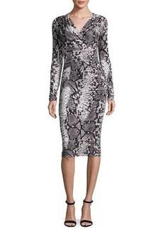 David Meister Long-Sleeve Snake-Print Jersey Dress