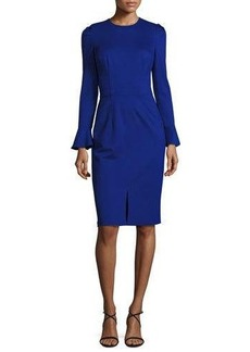 David Meister Long-Sleeve Stretch Crepe Sheath Dress