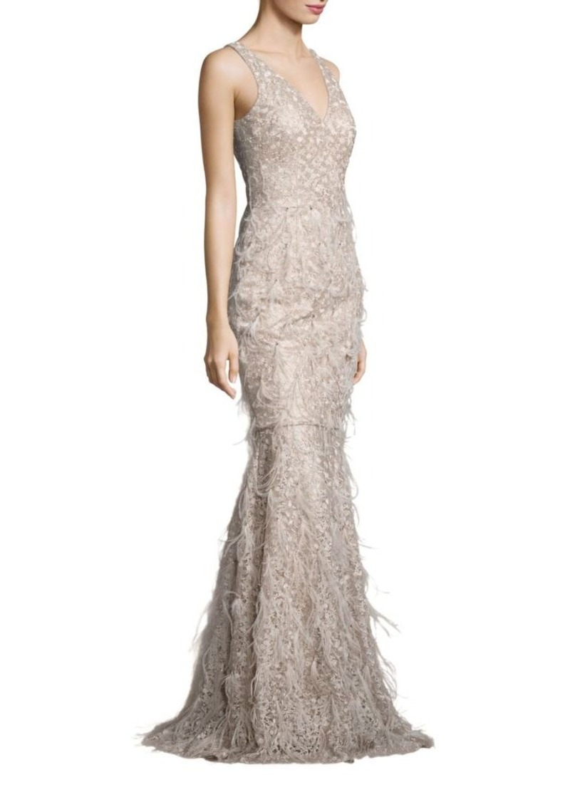 David Meister David Meister Metallic Embroidered Lace & Feather Gown ...