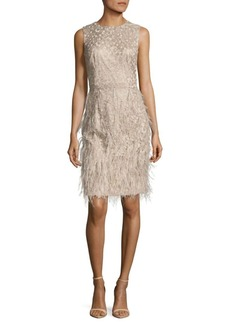 David Meister Metallic Feathered Dress