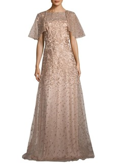 David Meister Metallic Floral Embroidered Gown