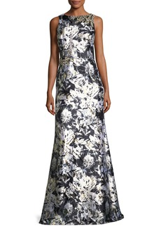 David Meister Metallic Floral-Print Satin Gown