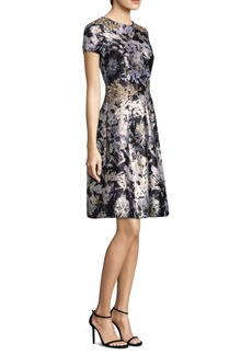 David Meister Metallic Jacquard Dress