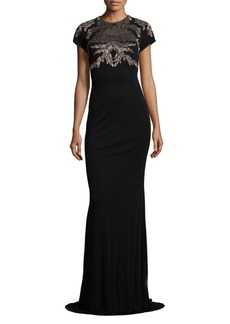 David Meister Metallice Lace Applique Gown
