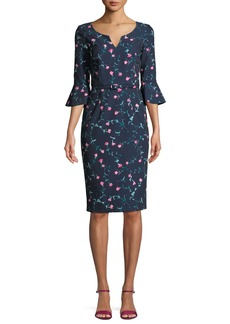 David Meister Mini Floral Trumpet-Sleeve Belted Dress