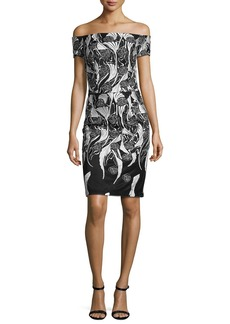 David Meister Off-the-Shoulder Floral Cocktail Dress