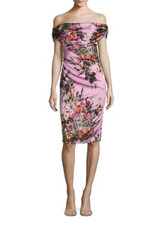 David Meister Off-the-Shoulder Floral Satin Dress