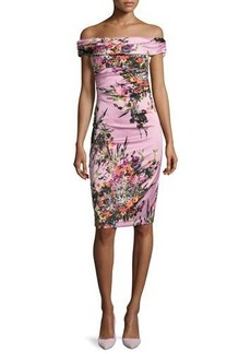 David Meister Off-the-Shoulder Floral Sheath Dress