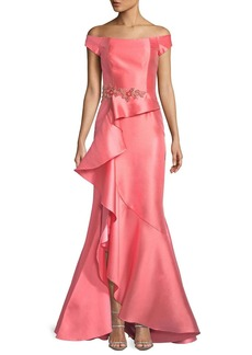 David Meister Off-the-Shoulder Ruffle Gazaar Gown