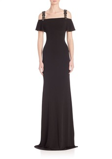 David Meister Off-The-Shoulder Sheath Gown