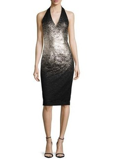David Meister Ombre Foil Halter Cocktail Dress