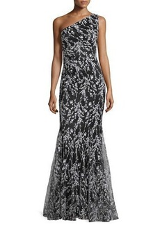 David Meister One-Shoulder Floral Embroidered Mermaid Gown