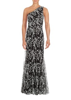 David Meister One Shoulder Floral Gown