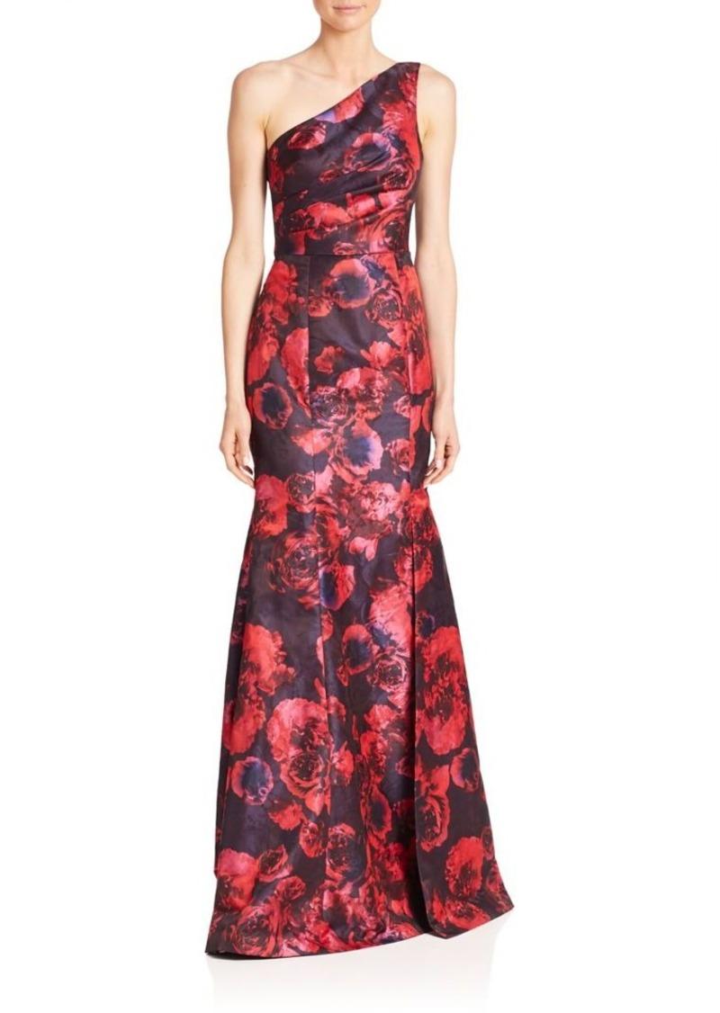 David Meister David Meister One-Shoulder Floral Jacquard Gown | Dresses