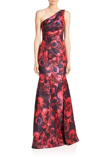 David Meister One-Shoulder Floral Jacquard Gown