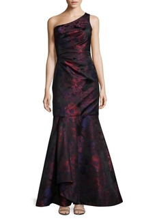 David Meister One Shoulder Floral Jacquard Mermaid Dress