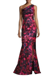 David Meister One-Shoulder Floral Jacquard Mermaid Gown