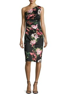 David Meister One-Shoulder Floral Jersey Cocktail Dress
