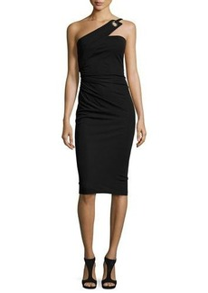 David Meister One-Shoulder Grommet Sheath Dress