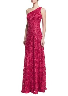 David Meister One-Shoulder Lace A-line Gown