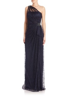 David Meister One Shoulder Lace Gown