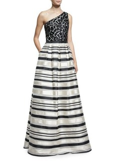 David Meister One-Shoulder Lace Striped Gown