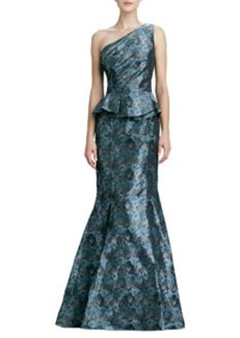 David Meister One-Shoulder Peplum Gown