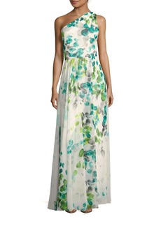 David Meister One-Shoulder Printed Gown