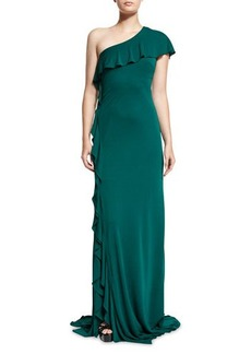 David Meister One-Shoulder Ruffle-Trim Jersey Gown